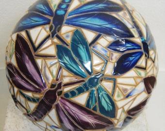 "Dragon Fly Mosaic Art Accent Ball, Handmade Ceramic Tile Sphere 10+""  Dragonfly Art"