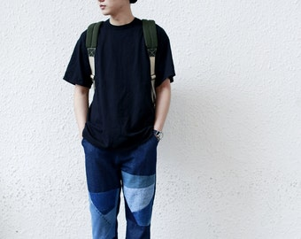 Denim Patchwork Pant (Dark Blue)