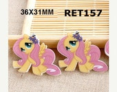 ON SALE Fluttershy My Little Pony Planar Resin Cabochons Flatback Flat Back Scrapbooking Hair Bow Centers Card Making Crafts Embellishments