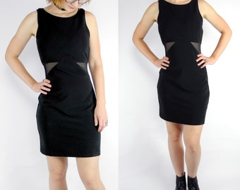 1980s black bodycon wiggle dress / vintage mini dress with cutout waist / size medium