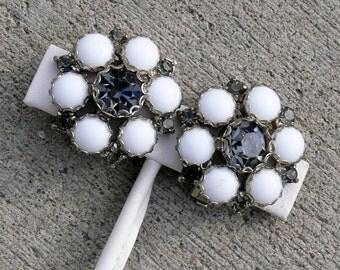 white milk glass and rhinestone earrings
