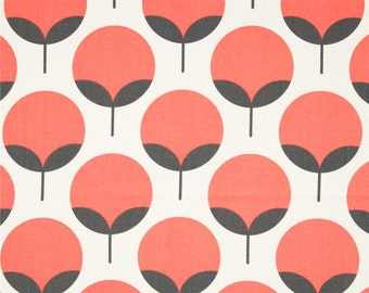 """CLEARANCE Salmon/Charocal Caroline  Remnant. 17"""" Inches- Premier Prints Caroline Coral Pink Home Decor - Fabric by the Yard"""