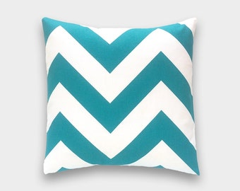 Big Chevron Zig Zag Pillow. 16 X 16 Inch Turquoise and White Decorative Pillow Covers.