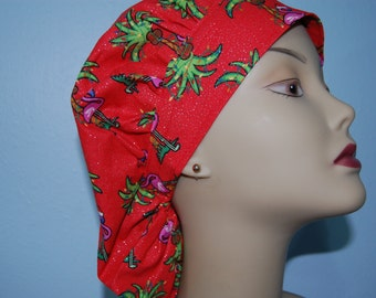 Bouffant Scrub Cap Christmas Flamingo in Red / Euro / Chemo/ Chef/ Vet/ Alopecia/ Surgical Uniform by Hot Headz