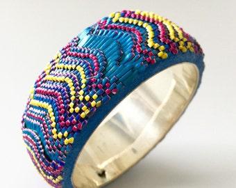 Bargello bracelet. Handmade bangle. African, American indean patern style bangle. Colorful babgle. 3D bargello bracelet.