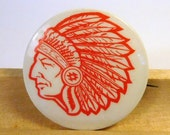 Vintage Native American Indian Pinback Pin Button - Red and White - Chief