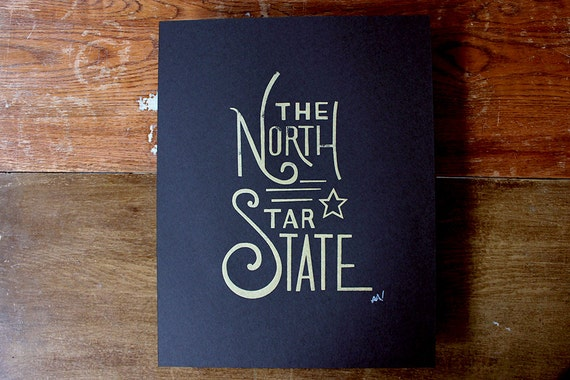 Simple State Silkscreen Poster - The North Star State