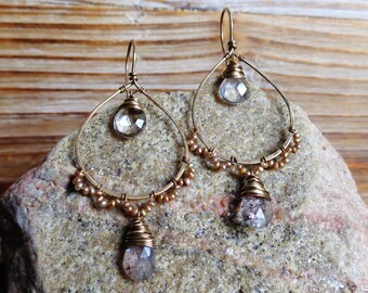 Capri. Hammered Artisan Boho Gold Brass Chandelier Earrings with Wire Wrapped Gold Champagne Pearls, Crystal Quartz and Moss Quartz Gems
