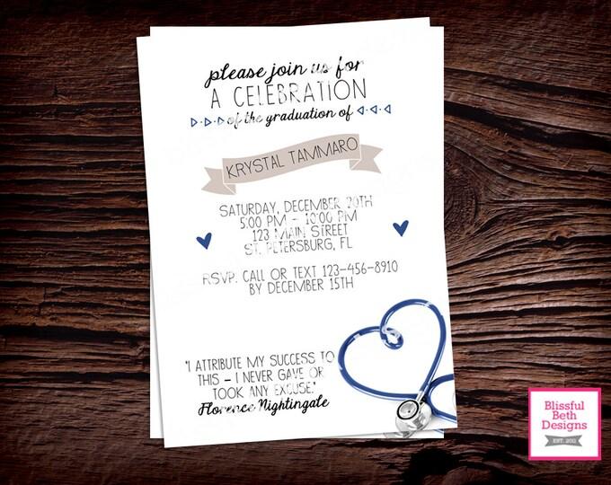NURSING GRADUATION INVITATION Modern Nursing Graduation Invitation, Nursing Graduation Invite, Nursing Celebration, Nursing Graduate, Nurse
