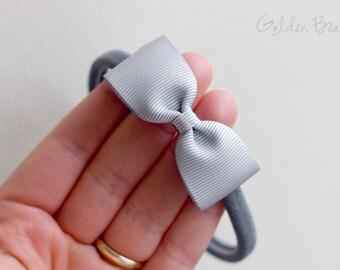 Baby Bow Headbands - Silver Small Grosgrain Ribbon Bow Handmade Headbands