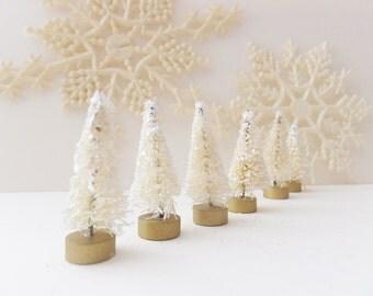 """12 White Bottle Brush Trees ~ 1.5"""" Little Glittered Trees ~ Christmas Putz House ~ Winter ~ Shabby Cottage Decor"""