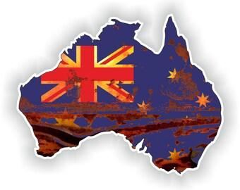 Vintage Australia Rusted Map Flag Old look Silhouette Sticker for Laptop Book Fridge Guitar Motorcycle Helmet ToolBox Door PC Boat