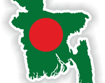 Bangladesh Map Flag Silhouette Sticker for Laptop Book Fridge Guitar Motorcycle Helmet ToolBox Door PC Boat