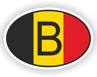 Belgium BE Country Code Oval Sticker with Flag for Bumper Laptop Book Fridge Motorcycle Helmet ToolBox Door Hard Hat Tool Box Locker Truck