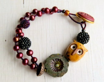 Wild and Free - handmade artisan bead owl bracelet in fall autumnal colours with freshwater pearls, ceramics and polymer - Songbead UK
