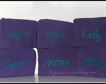 Set of 9 Personalized Cosmetic Bags ~ Monogrammed Cosmetic Bags ~ Personalized Bridesmaid Cosmetic Bags ~ quick shipping