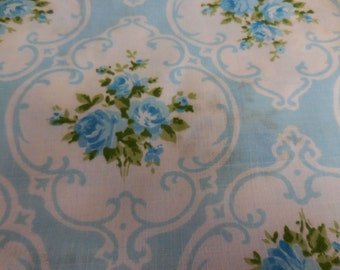 Vintage Tastemaker / J.P. Stevens New Old Stock Blue CAMEO ROSE Twin Size Flat SHEET - So Pretty - Never Used, but Out of Package Sheet- #2