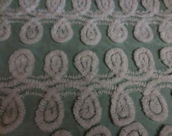 Pretty GREEN with White Chenille CURLIQUES Vintage Chenille Bedspread Fabric - #2