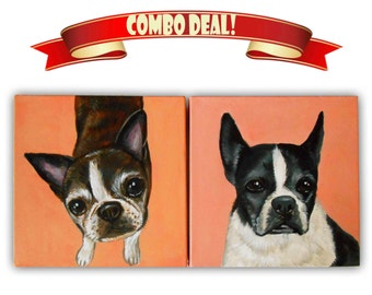 Two 8x8x0.75 inch Custom Dog Portraits Acrylic / Custom Pet Portraits - 1 to 2 Pets Close-Up Solid background Gift Memorial Nursery Puppy