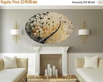 Sale LARGE ORIGINAL Oval beveled edge Landscape Abstract  White Blossoms Oil Painting,palette knife,Gallery Fine Art -Nicolette Vaughan Horn