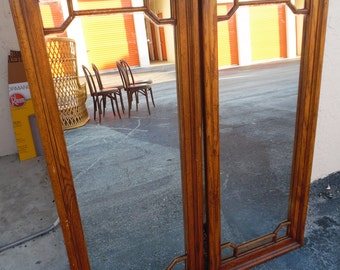 A TALL ORDER / Pair Of 4 Ft Tall Asian Fretwork Mirrors / Very Modern Lines / Need A Redo / Chinoiserie Chic