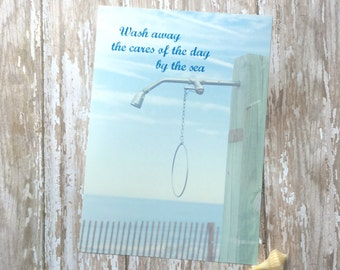 Beach Wall Art for Bathroom | Beach Decor | Bathroom Decor | Inspirational Quote | Bathroom Wall Art | Coastal Wall Art Beach Shower by Sea