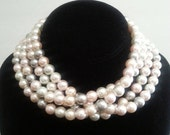 NOW ON SALE Vintage Long Necklace Flapper Jewelry Retro 60 inches 1960s Mad Men Faux Pearl 1 Strand Retro Collectible Accessories Old Hollyw