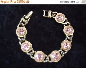 Christmas In July Sale Vintage Pink Rhinestone Bracelet Hollywood Regency 1950's Mid Century Mad Men Mod Retro Collectible Jewelry Martini M
