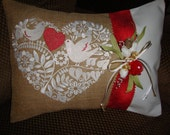 Heart Dove Red White Throw Pillow Cover Wedding Valentines Mothers Day Burlap Cotton Duck Throw Pillow 12 By 16 Size Machine Embroidered