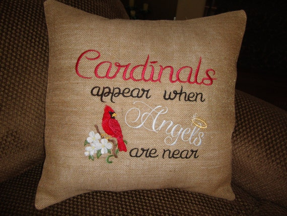 Cardinal Red Bird Burlap Throw Pillow Angel by GranniesEmbroidery