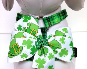 Dog Harness- St. Patty's Plaid with a bow