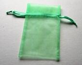 Set of 10 Mint Green Organza Bags (4x6)