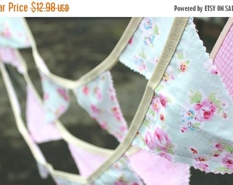 SALE 50% OFF Bunting Fabric Bunting Fabric Banner Birthday Party Bunting Baby Shower Nursery Art Hanging Wall Art Vintage Bunting Tea Party
