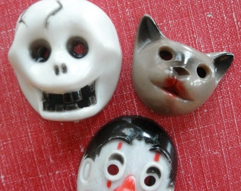 Vintage Toy Flashlight Covers 60's Dimestore Toys Plastic Reticulated Skeleton Clown Cat Assemblage Altered Art Mixed Media Supply Supplies