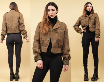 40s 50s Vtg Ladies WOOL 1949 Flight Bomber Jacket / Post WWII War Button Front MINIMALIST Boxy Crop Coat / Mint Condition Xs Sm