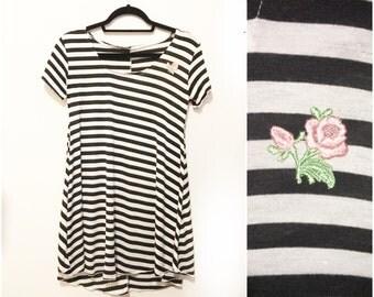 Jailbait Pink Rose Black White Stripe 90s Inspired Dress Made to Order