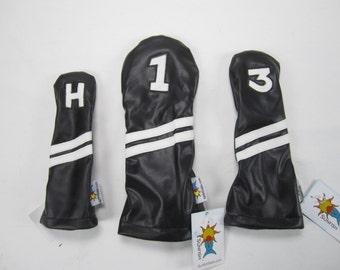 Black White Leather Golf Headcover Set - Driver, Fairway, & Hybrid