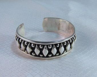 Taxco Sterling Southwestern Diamond and Balls Bangle Bracelet