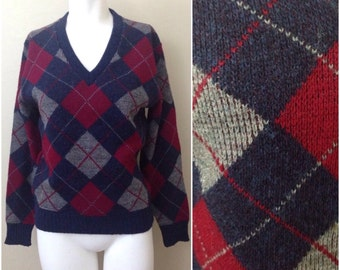 Vintage 1970s 1980s Blue and Red Soft V Neck Diamond Check Argyle Sweater  / Womens Medium / Preppy Hipster Fall Fashion Made In USA