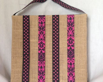 Hot Pink and Black Burlap Covered Bow Holder