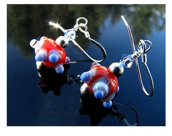 Lampwork Glass Earrings Handmade Artisan Beads Handcrafted OOAK SRAJD SRA