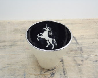 One Unicorn, Black & Silver Porcelain 5oz. Teacup, Tea Bowl, Saki Cup-Gifts for Girls, Goth Gift, Steampunk Gift, Gifts for Teens