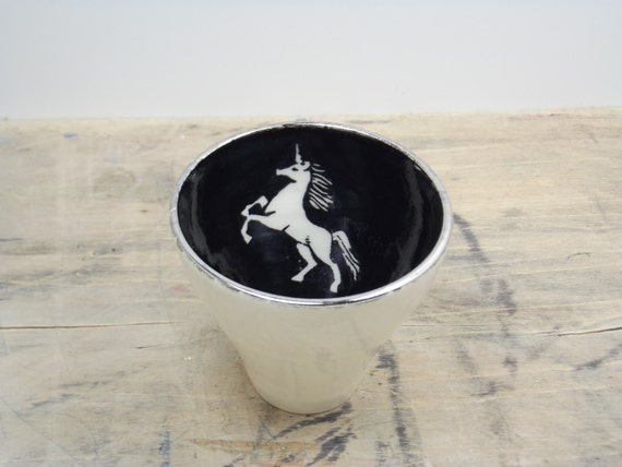 One Unicorn, Black & Silver Porcelain 5oz. Small Tea Cup, Tea Bowl, Saki Cup