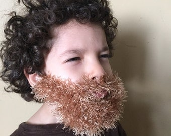 Handmade Crochet kids Beard Only, dettached beard, fuzzy Beard, choose any color you like, Irish beard, blonde beard, ginger beard, brown