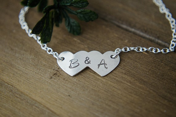 Sterling Silver Bracelet | Two Initials Jewelry | Mom of 2 or Couples Jewelry | Double Letter Bracelet | Heart with Initials Bracelet
