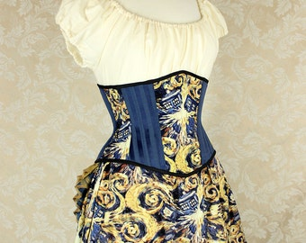 "Doctor Who Exploding T.A.R.D.I.S. Patchwork Waspie Corset - Corset Size 38, Fits Waist 41""-43"" - Ready to Ship"