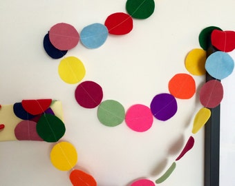 Confetti Garland // Big Circle Felt Party Bunting // 3.4 meters