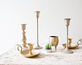 Lot of Five Vintage Brass Vases Vintage Gold Vintage Pitcher Gold Vase Brass Candlestick Candle Stick