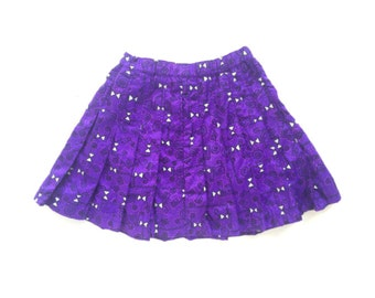 Vintage 90s Nike Mini Skirt, Abstract Print, Purple Pleated Tennis Skirt