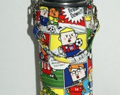 "Insulated Water Bottle Holder for 18oz Hydro Flask with Interchangeble Handle and Strap Made with ""Soccer - Comic"" Fabric"